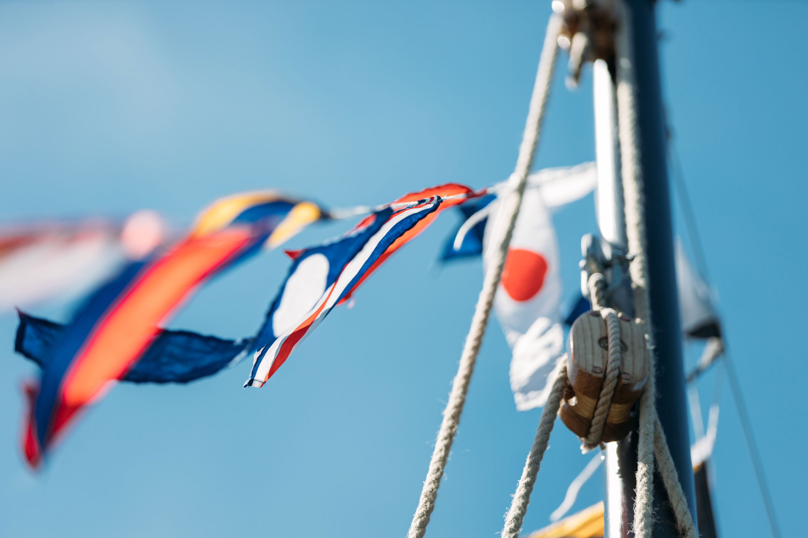 Flags onboard National Maritime Museum Cornwall's Heritage Boats